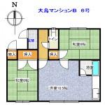 大島マンションB6号間取り図(間取)